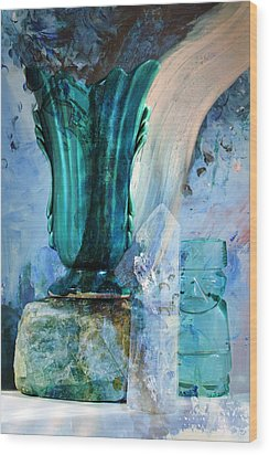 Blue Still Life Flow Wood Print