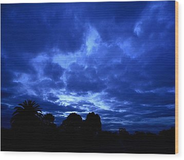 Blue Storm Rising Wood Print