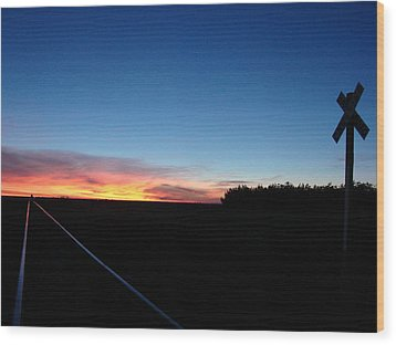 Blue Sunrise Over The Tracks Wood Print by Cary Amos