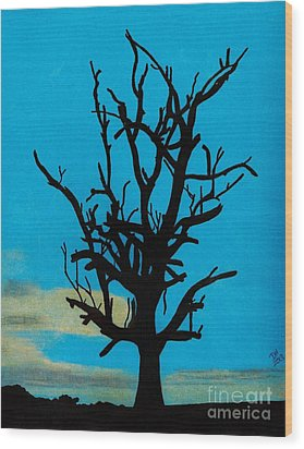 Wood Print featuring the drawing Blue Sunset by D Hackett