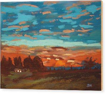 Blue Sunset Pastel Wood Print