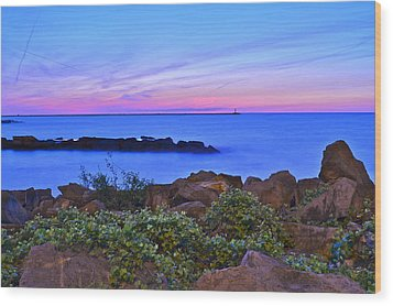 Blue Sunset Wood Print by Frozen in Time Fine Art Photography