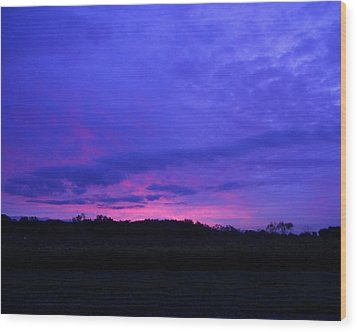 Wood Print featuring the photograph Blue Sunset by Teresa Schomig