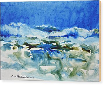 Blue Surf Wood Print