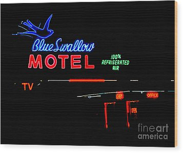 Blue Swallow Motel Neon Sign Wood Print by Catherine Sherman