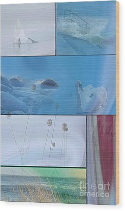Blue Swan Collage Wood Print by Randi Grace Nilsberg