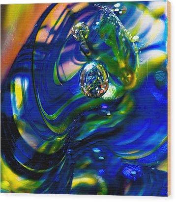Blue Swirls Wood Print by David Patterson