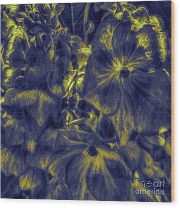 Blue Tango Floral Wood Print