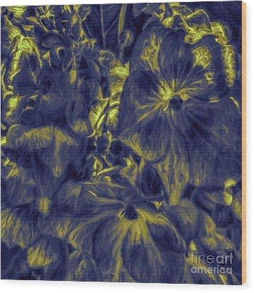 Blue Tango Floral Wood Print by Jean OKeeffe Macro Abundance Art