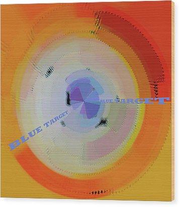 Blue Target Wood Print by Ben and Raisa Gertsberg