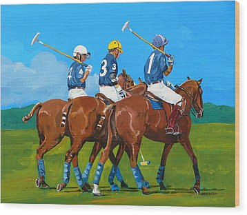 Blue Team Wood Print by Janina  Suuronen