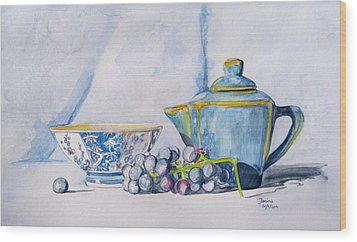 Wood Print featuring the painting Blue Teapot  by Janina  Suuronen