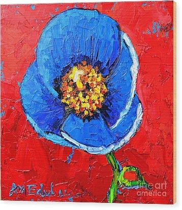 Blue Tibetan Poppy Wood Print by Ana Maria Edulescu