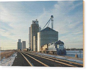 Wood Print featuring the photograph Blue Train Blue Sky by Shirley Heier