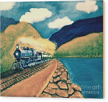 Blue Train Wood Print