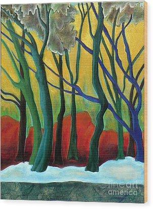 Blue Tree 1 Wood Print by Elizabeth Fontaine-Barr