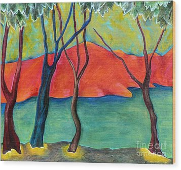 Blue Tree 2 Wood Print by Elizabeth Fontaine-Barr