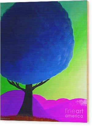 Wood Print featuring the painting Blue Tree by Anita Lewis