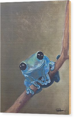Blue Tree Frog On A Branch Wood Print