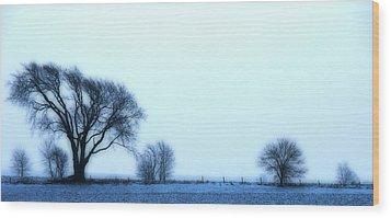 Blue Treeline Wood Print