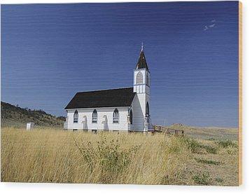 Wood Print featuring the photograph Blue Trim Church by Fran Riley