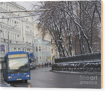 Blue Trolleybus Wood Print by Anna Yurasovsky