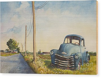 Wood Print featuring the painting Blue Truck North Fork by Susan Herbst