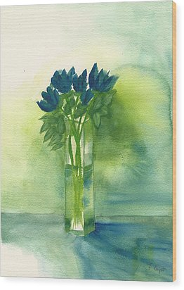 Blue Tulips In Glass Vase Wood Print