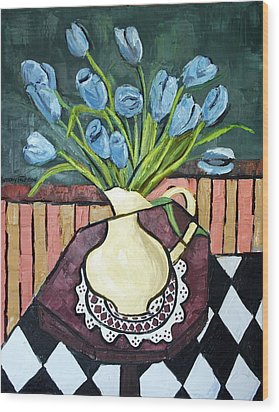 Blue Tulips On Octagon Table Wood Print by Anthony Falbo