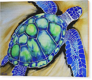Blue Turtle Wood Print