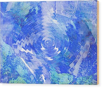 Blue Twirl Abstract Wood Print by Ann Powell