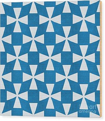 Blue Twirl Wood Print by Linda Woods
