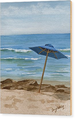 Blue Umbrella Wood Print