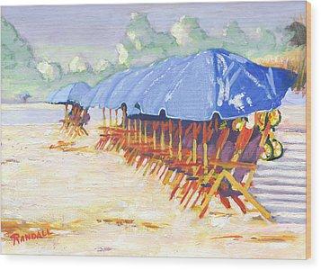 Blue Umbrellas Wood Print