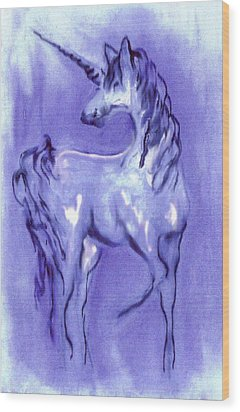 Blue Unicorn Wood Print by Carol Rowland