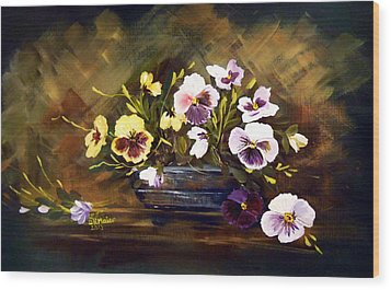 Blue Vase With Pansies Wood Print by Dorothy Maier