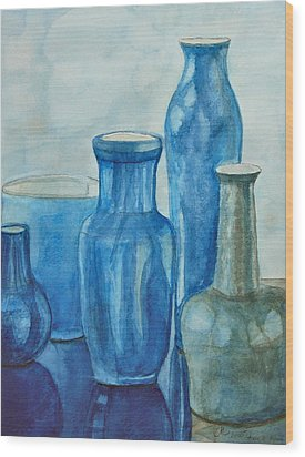 Blue Vases I Wood Print