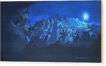 Blue Village Wood Print