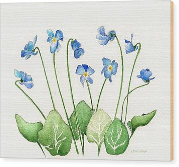 Wood Print featuring the painting Blue Violets by Nan Wright