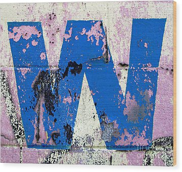 Blue W Wood Print by Ethna Gillespie