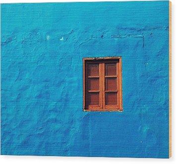 Blue Wall Wood Print by Gustavo Garcia