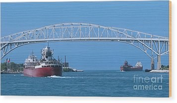 Blue Water Bridge And Freighters Wood Print
