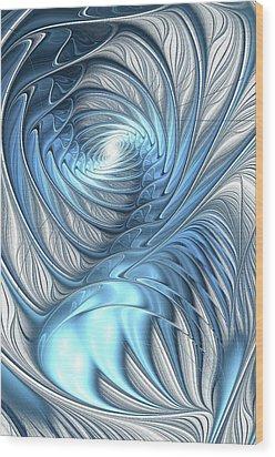 Blue Wave Wood Print by Anastasiya Malakhova