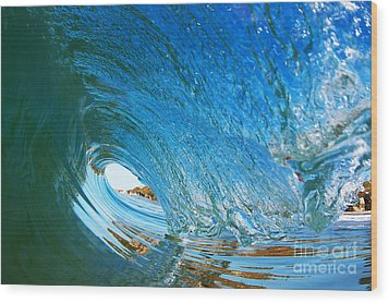 Wood Print featuring the photograph Blue Wave Curl by Paul Topp
