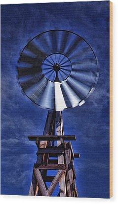 Blue Windmill Wood Print