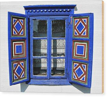 Blue Window Handmade Wood Print by Daliana Pacuraru