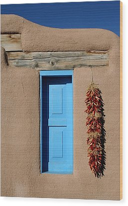 Blue Window Of Taos Wood Print