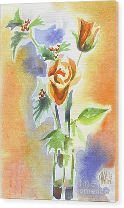 Wood Print featuring the painting Blue With Redy Roses And Holly by Kip DeVore
