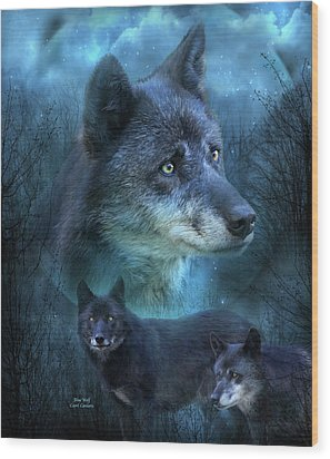 Blue Wolf Wood Print by Carol Cavalaris