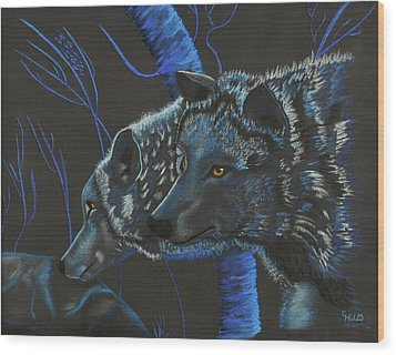 Blue Wolves Wood Print by Mayhem Mediums